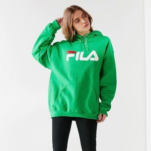 Urban Outfitters x Fila Spell Out Hoodie Green XS